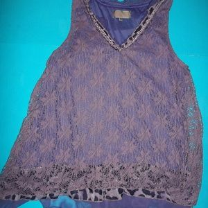 XL PURPLE CROCHET LAYERED TUNIC TOP